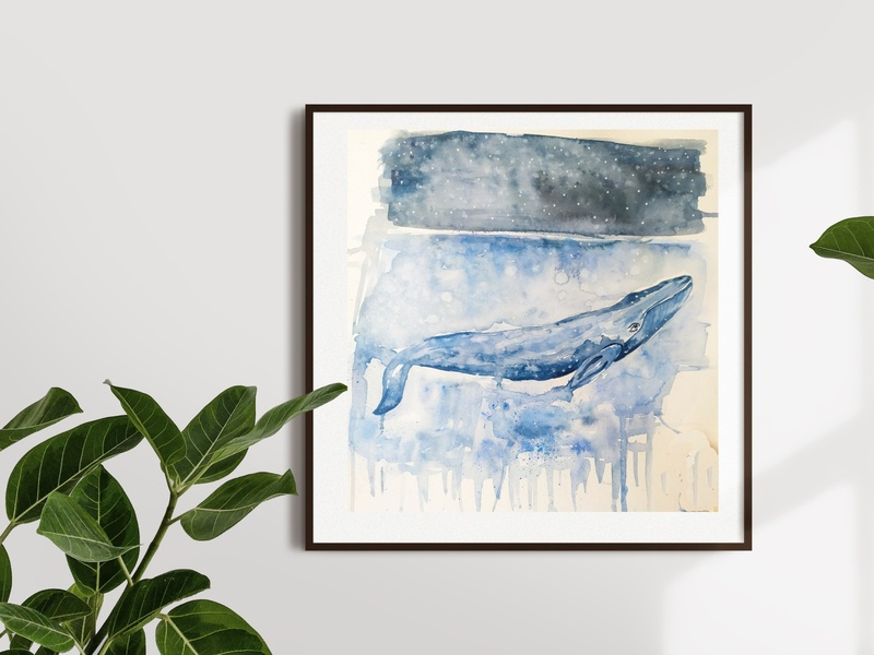 Stars in the Oceans whale sea watercolour watercolor painting sketch illustration