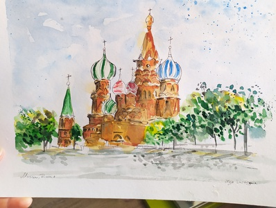 Moscow traveling travel travelsketch watercolour watercolor sketch painting illustration russia moscow