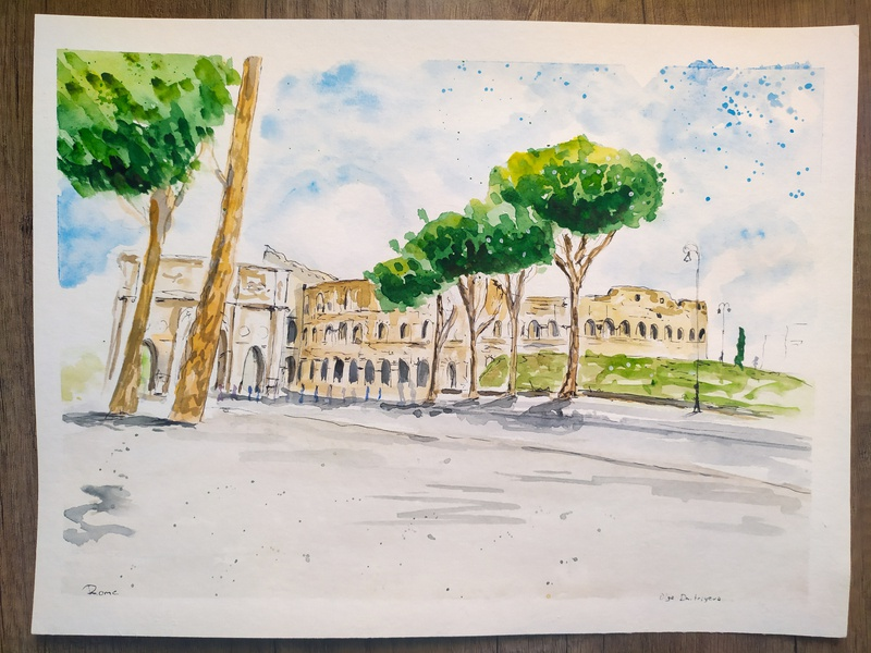 Rome traveling italian italia italy travel travelsketch watercolour watercolor painting illustration sketch