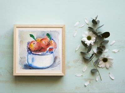 Apples food illustration apples watercolor illustration sketch