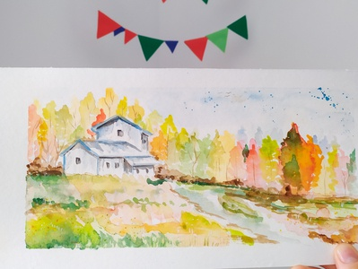 Autumn watercolor painting illustration sketch autumn leaves autumn