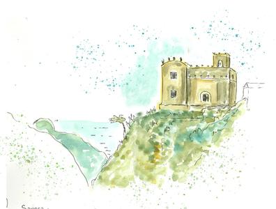 Savoca, Italy sicily italia savoca italy travel travelsketch watercolor illustration sketch