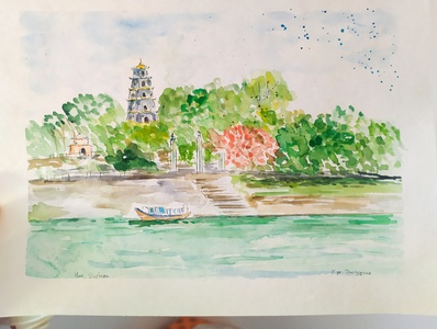 Vietnam, Hue painting traveling travel travelsketch hue vietnam illustration sketch