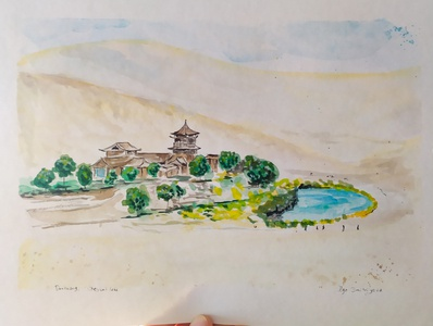 China, Dunhuang chinaart china traveling gouache painting sketch illustration