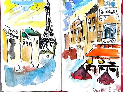 Old sketch of Paris traveling travelsketch travel watercolour parisian paris sketch illustration
