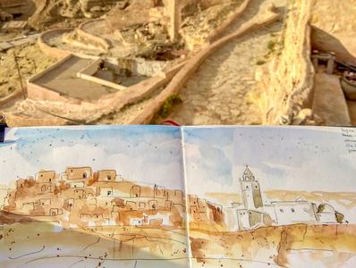 Chenini, Tunisia traveling chenini travelsketch travel tunisie tunisia sketch illustration