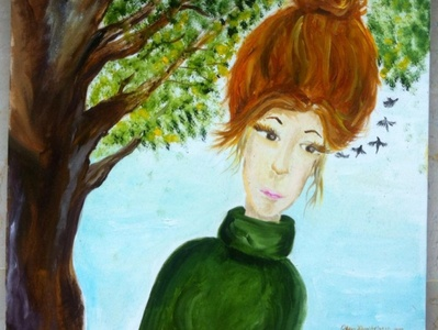 A girl painting oil on canvas oil painting