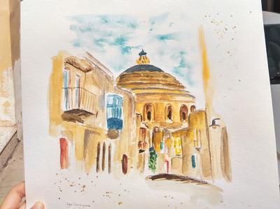 Mosta, Malta mosta malta travelsketch travel watercolor sketch illustration