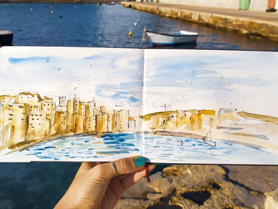 Malta traveling travelsketch watercolor illustration sketch malta