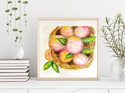 Peaches, Watercolor Sketch peach fooddrawing food illustration watercolor sketch illustration