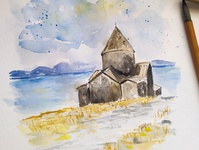 Armenia, Lake Sevan, Travel Sketch traveling armenia travel travelsketch watercolour painting watercolor sketch illustration