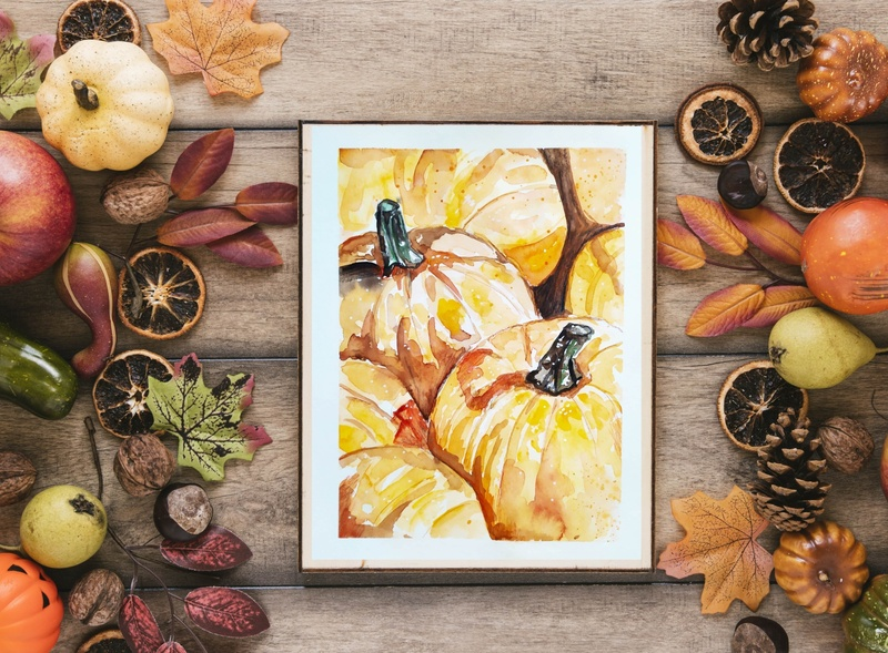 Pumpkins, Watercolor Sketch food illustration autumn pumpkin fooddrawing watercolour painting watercolor sketch illustration