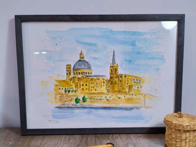 Valletta, Malta travelsketch traveling malta fine arts watercolour painting watercolor sketch illustration