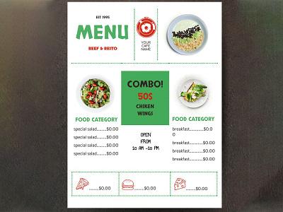 Restaurant Menu - free Google Docs Template google docs free template design