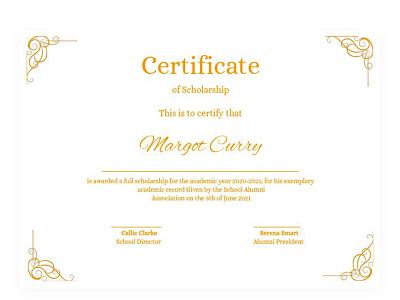 Scholarship Certificate - free Google Docs Template certificate google docs design free templates free template
