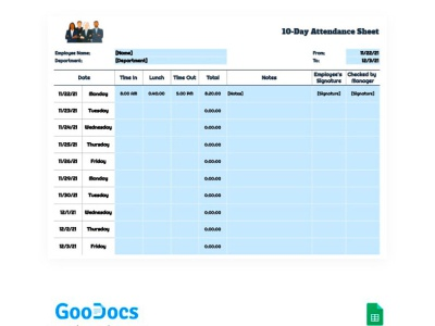 Employee 10-Day Attendance Sheet - free Google Docs Template sheet google docs free templates design free template