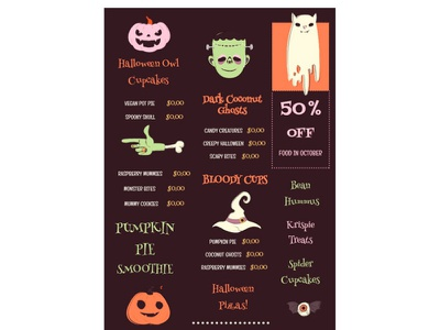 Halloween Menu - free Google Docs Template halloween menu google docs design free templates free template