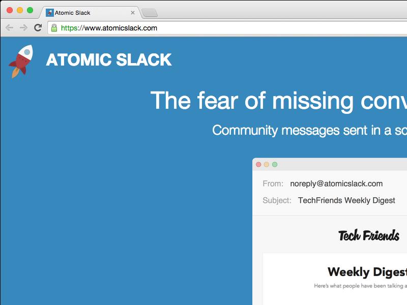 Atomic Slack marketing site ui ux community dashboard product slack
