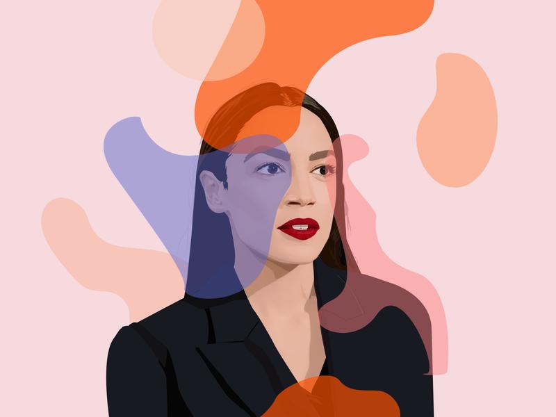 Alexandria Ocasio-Cortez Portrait shapes abstract magazine vector illustrator realistic portrait art portrait illustration