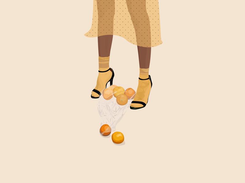Oranges fashion illustration flat vector fashion illustration