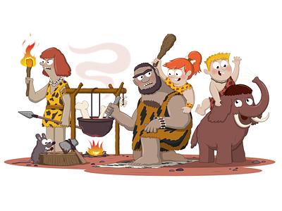Cave Fam adobe illustrator character design illustration