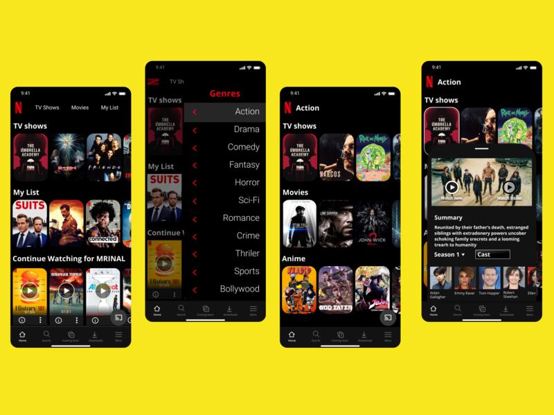Netflix App Redesign app design netflix logo icon vector ux ui typography illustration design branding app