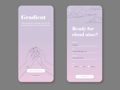 Daily UI #001 (Sign Up) romantic girly aesthetic pink pastel love illustration challenge daily ui sign up ux design ui design app dating