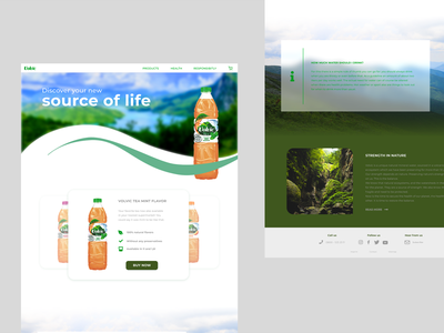 Daily UI #003 (Landing Page) redesign tea water green volvic webdesign design buying aesthetic daily ui challenge