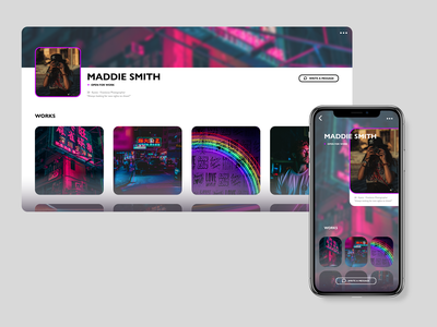 Daily UI #006 (User profile) profile page profile social media night user photography lights neon ui design app aesthetic daily ui challenge