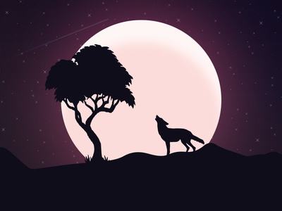 Howling Wolf in Night howling sky wolf night flat creative graphics art design illustration