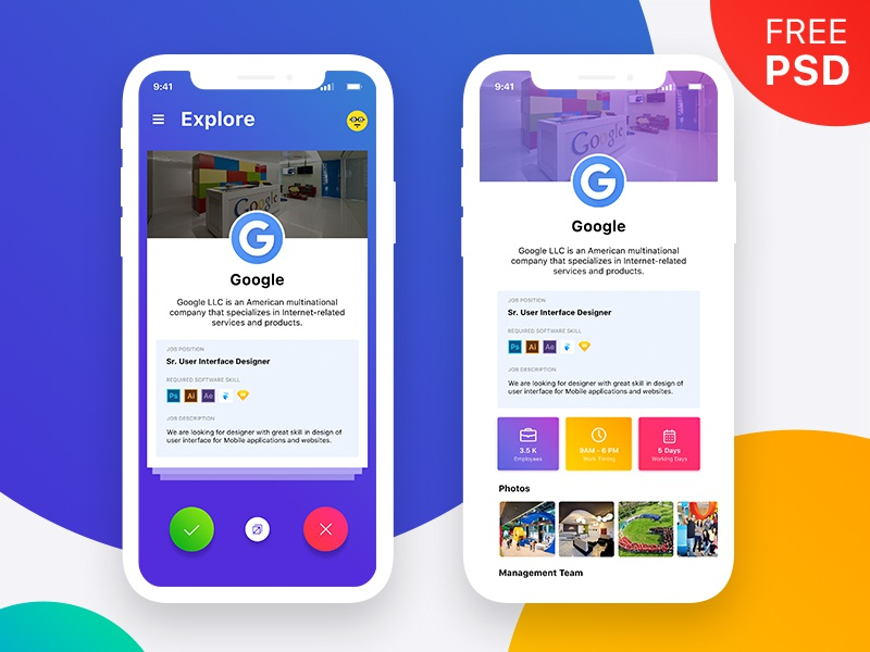 Job App Freebie UI download free psd freebie iphonex job minimal pixel design app ux ui