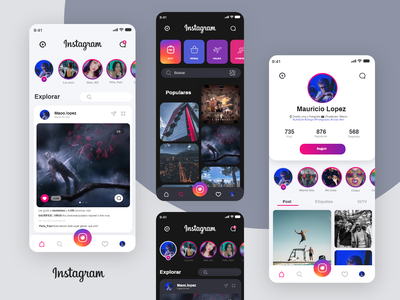 Instagram Redesign UI adobexd uxdesign concept redesign uidesign uiux design ui facebook instagram