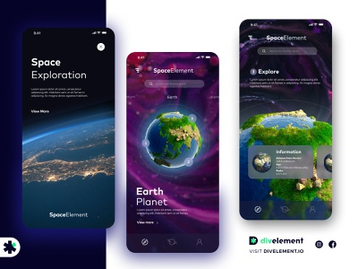 SPACE APP CONCEPT cosmo mobile marketing interface astronomy astronaut galaxy designart explore divelement figmadesign figma concept design planet appdesign designapp spaceapp uxdesign ui design ui