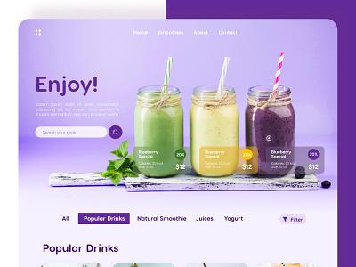 Drinks Concept Website food and drink enjoy adobexd design app concept design figma dribbble invite shopping cart concept uxdesign uidesign website food drink menu drinks