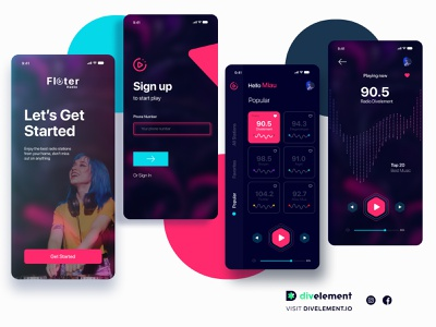 Radio App Concept home welcome page loginpage login concept app figmadesign figma app design music player music app music radioapp radioactive radio
