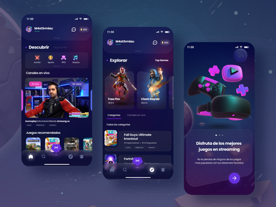 Streaming App concept conceptç streamer stream gameplays games videogames streaming design concept design app concept design uidesign adobexd uxdesign