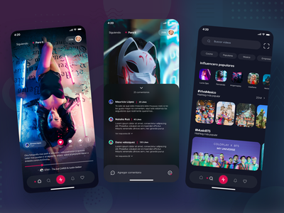 Social Media - Videos app social social tik tok socialmedia design app concept design uidesign adobexd uxdesign motion graphics 3d graphic design ui