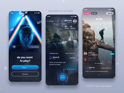 Game Challenge - App Concept uidairy challenge dare streaming play gaming game live design design app concept design uidesign uxdesign adobexd graphic design branding ui