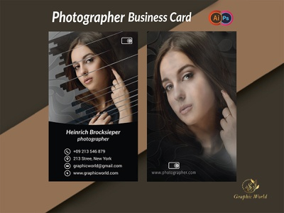 Photographer Business card banner social media vector flat typography minimal logo branding illustration graphic design photography businesscard