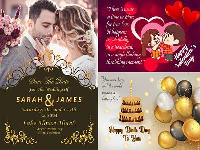 wedding  Birthday  Card icon business card design typography businesscard banner social media logo design branding birthday wedding invitation wedding card