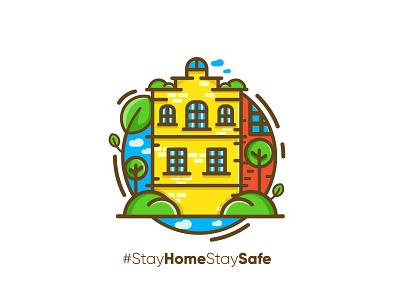 Stay home stay safe vegan green house nature stay coronavirus illustration covid virus corona