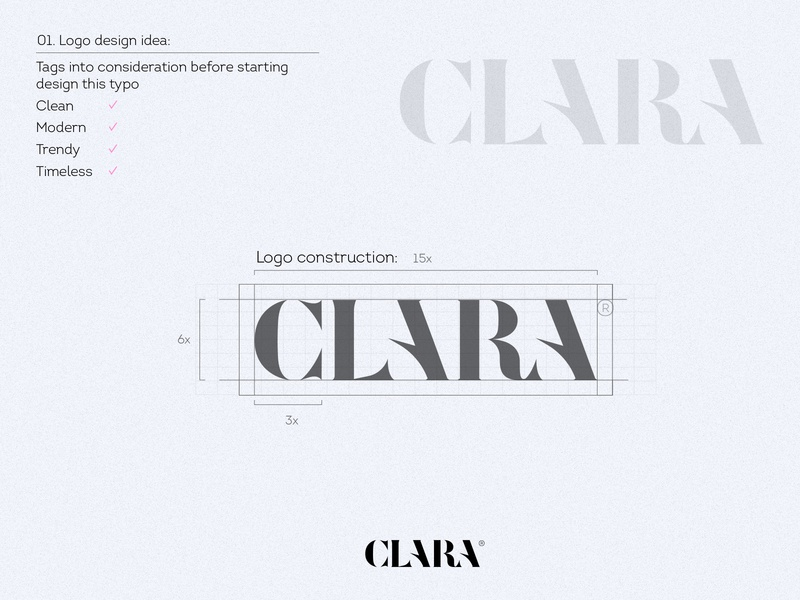 Logo for Clara vector brand creative design typography typo letter negative space icon mark logo