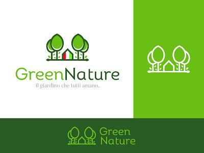 Green Nature gardening logo italian italy branding negative space creative icon mark brand logo graphic design nature green nature logo