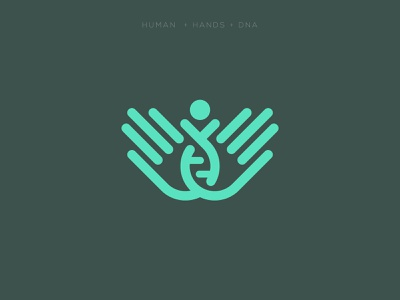 Approved Logo, hands + human dna medical care medic app negative space creative icon mark brand logo