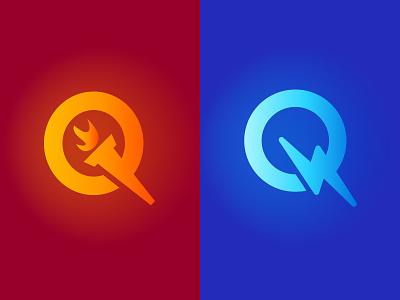 Q icon - Fire / Bolt tech design letter negative space creative mark brand logo icon bolt energy fire