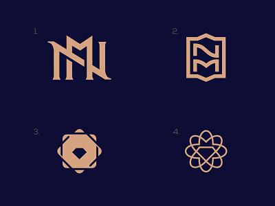 Jewelry store Logo. nm n elegant royal woman design letter negative space creative icon mark brand logo diamond logo diamond jewelry logo
