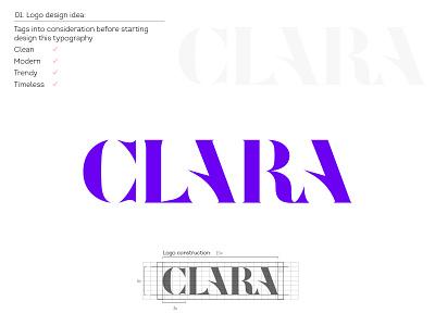 Approved logo for Clara design negative space creative icon logo design logotype brand mark customtype typogaphy fashion logo