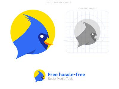 Bird+Bubble speech icon Logo flat logo simple smart bird media social tech design app creative icon brand mark logo
