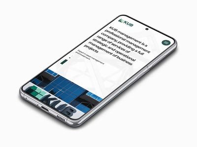 KUB Management. First screen. Mobile. mockup mobile design ux ui corporate management