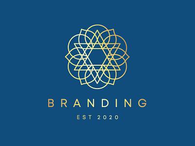 Golden Flower Hexagram Star Mandala Logo Design logo for sale visual identity branding logotype blogs podcasts yoga wellness leaves petals blooms blooming mandala geometry geometric star of david triangles flower golden